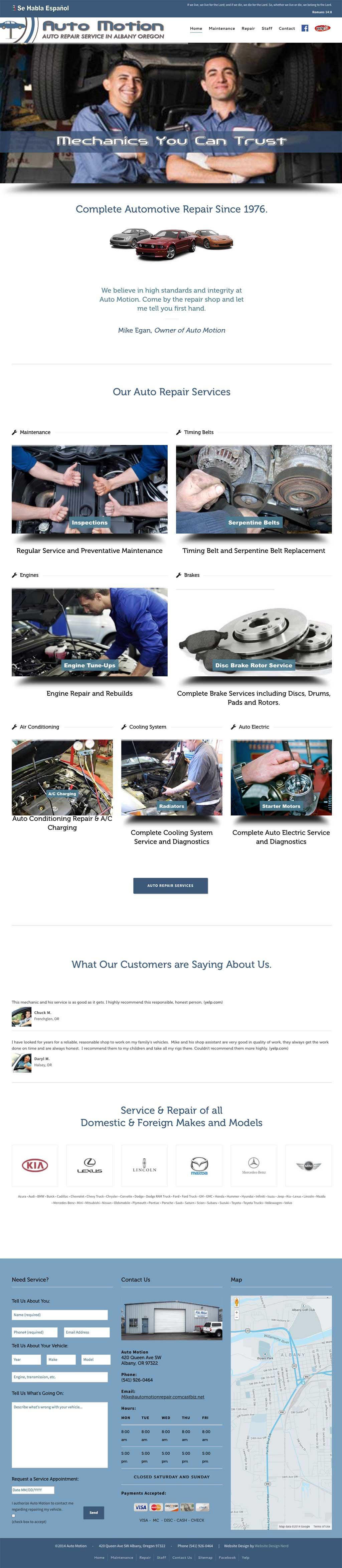 Albany Auto Repair Web Design Services